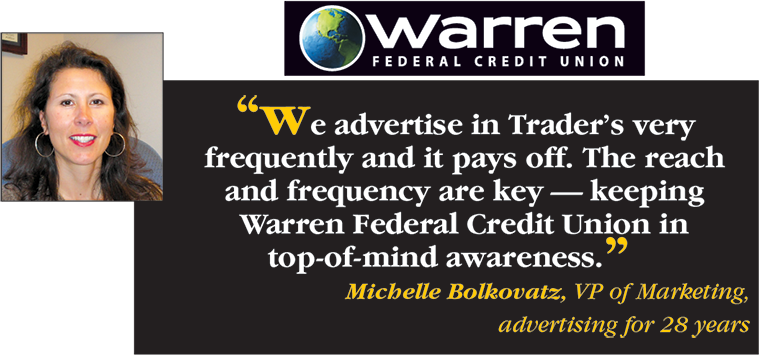 Warren Federal Credit Union says We advertise in Trader's very frequently and it pays off. The reach and frequency are key - keeping Warren Federal Credit Untion in top-of-mind awareness. - Michelle Bolkovatz, VP of Marketing, advertising for 28 years